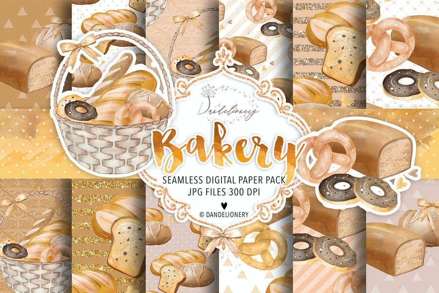 Bakery digital paper pack