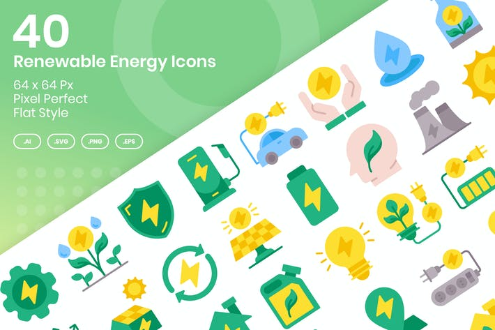 Thumbnail for 40 Renewable Enegy Icons Set - Flat