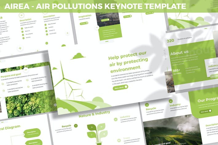 Thumbnail for Airea - Air Pollutions Keynote Template