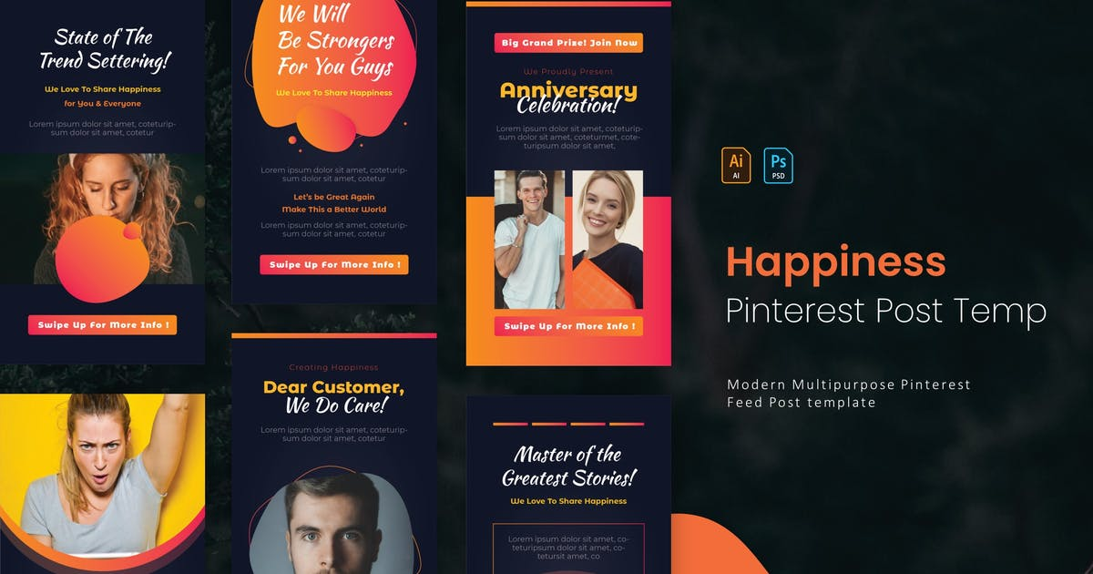 Download Share Happines   Pinterest Post Template by Vunira