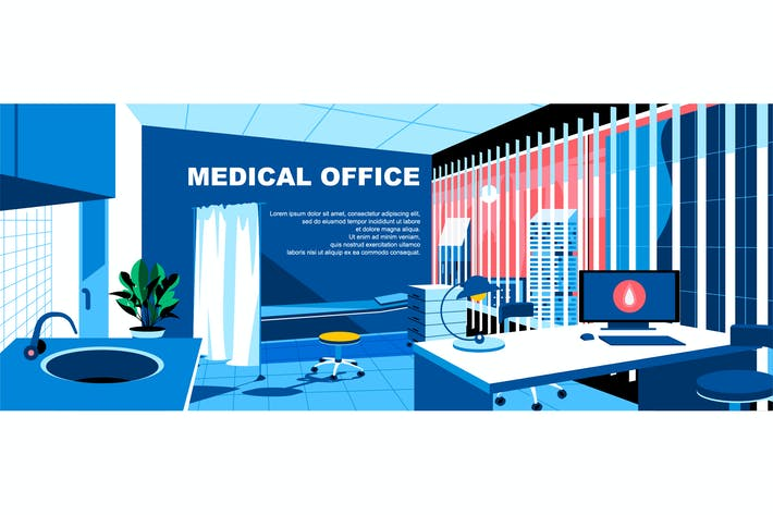 Medical Office Flat Concept Landing Page Header