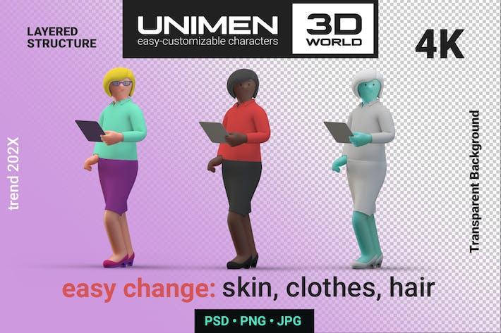3D Frau Mädchen stehend mit iPad