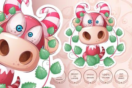 Cartoon character dino in bush - seamless pattern