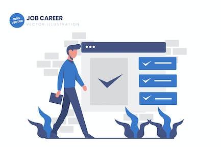 Ilustración Vector plana de carrera de trabajo