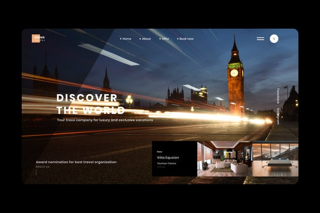 Travel landing page in Adobe XD Template