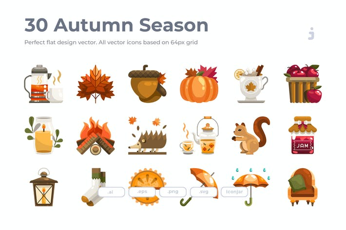 Thumbnail for 30 Herbst-Saison Icons - Flach