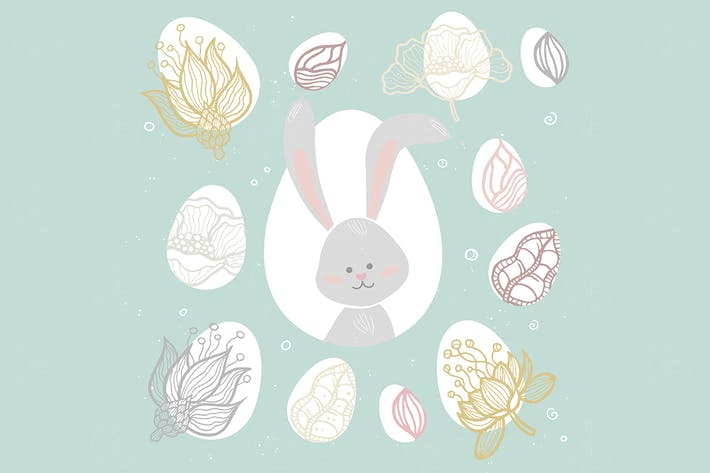 Easter bunny - vector colorful celebration poster