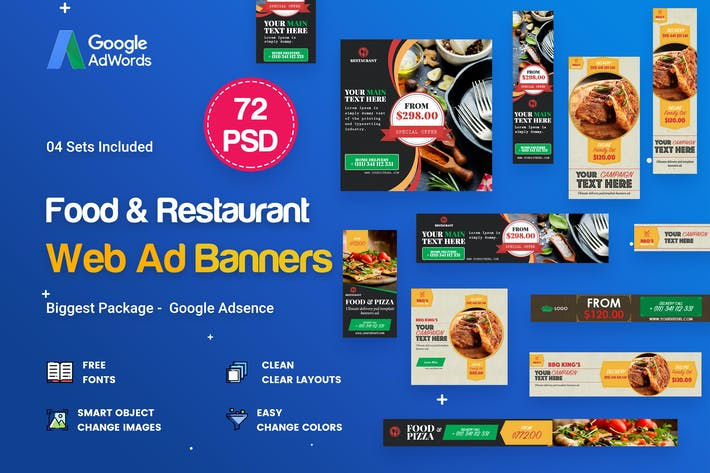 Thumbnail for Food & Restaurant Banners Ad - 72 PSD [04 Sets]