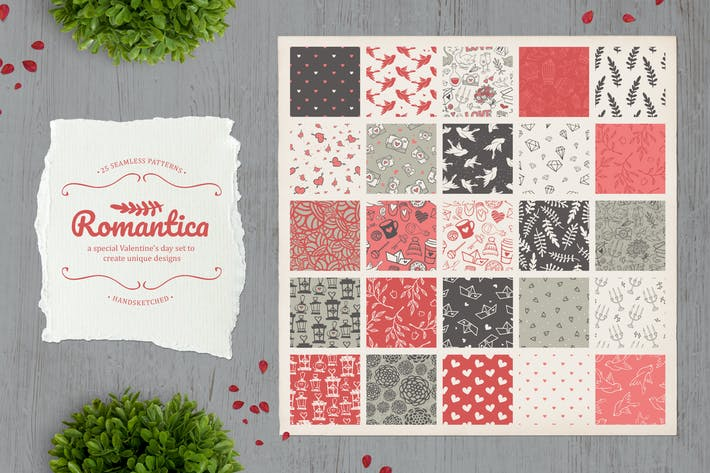 Thumbnail for Romantica. Set of 25 cute seamless patterns.