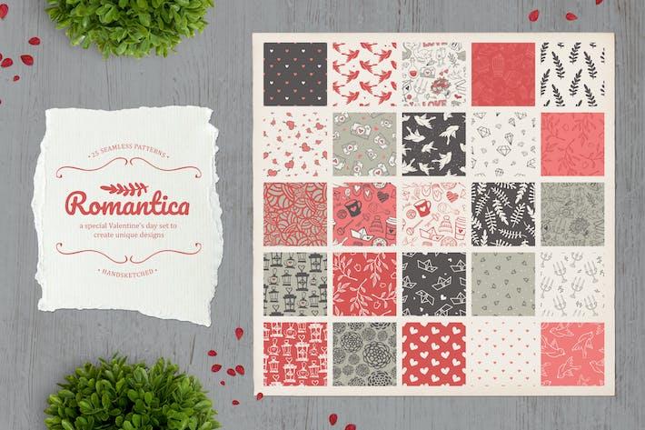 Thumbnail for Romántica. Juego de 25 bonitos patrones sin costuras.