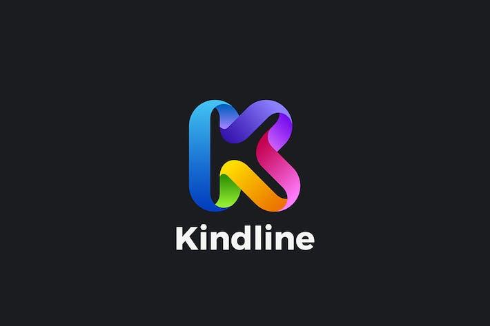 Letter K Logo design 3D Ribbon style