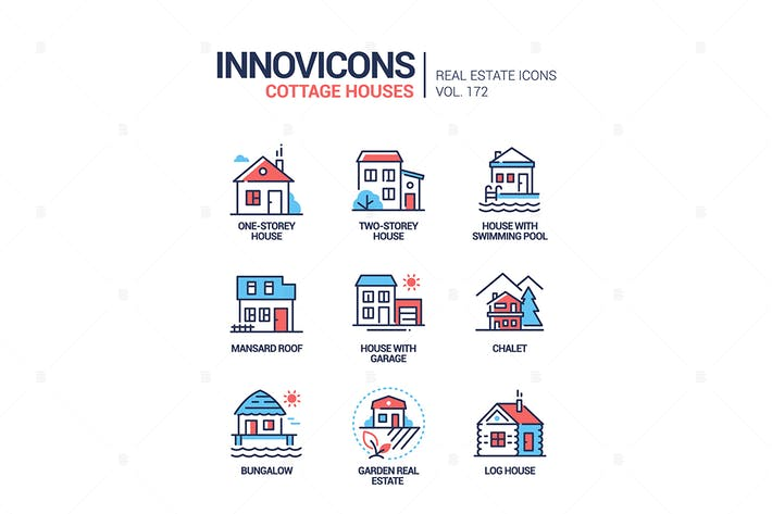 Thumbnail for Cottage houses - modern line design style icons