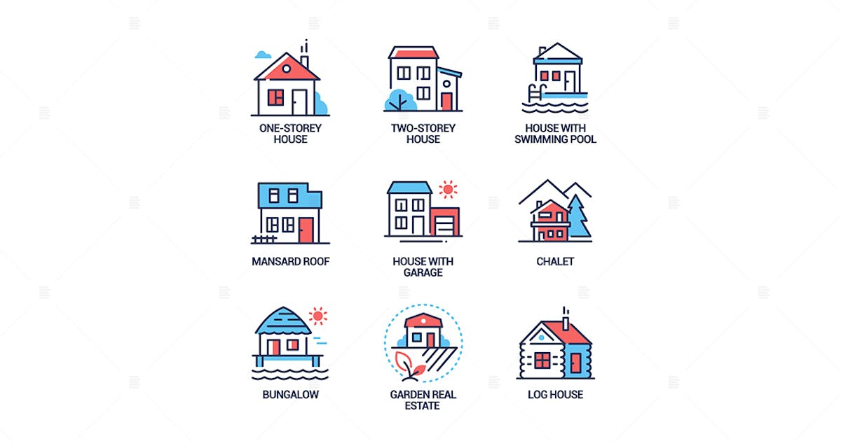 Download Cottage houses - modern line design style icons by BoykoPictures