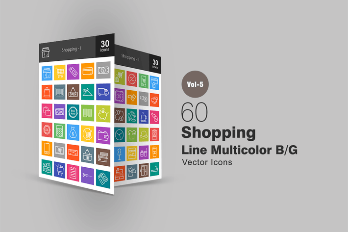 Thumbnail for 60 Shopping Line Multicolor Icons