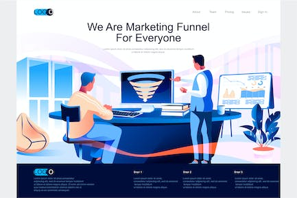 Marketing Funnel Isometric Landing Page Template