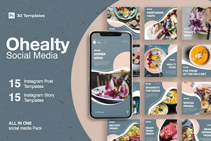 Ohealty - 30 Instagram Post & Story Template
