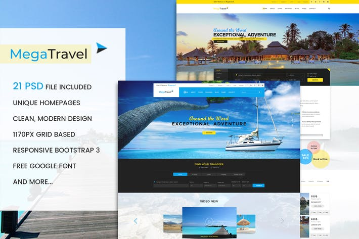 Thumbnail for MegaTravel - Premium Tours and Travel PSD Template