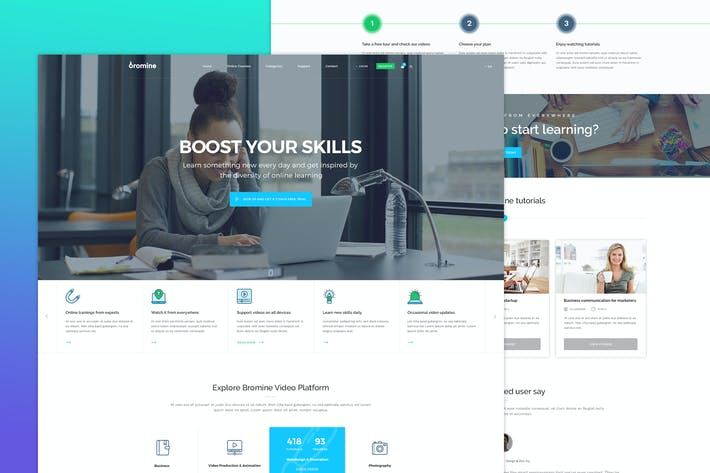 Thumbnail for Bromine - Online Learning Platform PSD template