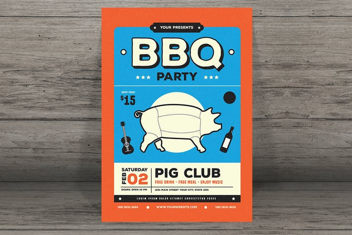 Thumbnail for modern retro barbeque flyer