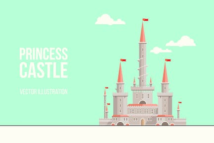 Princess Castle Flat Illustration