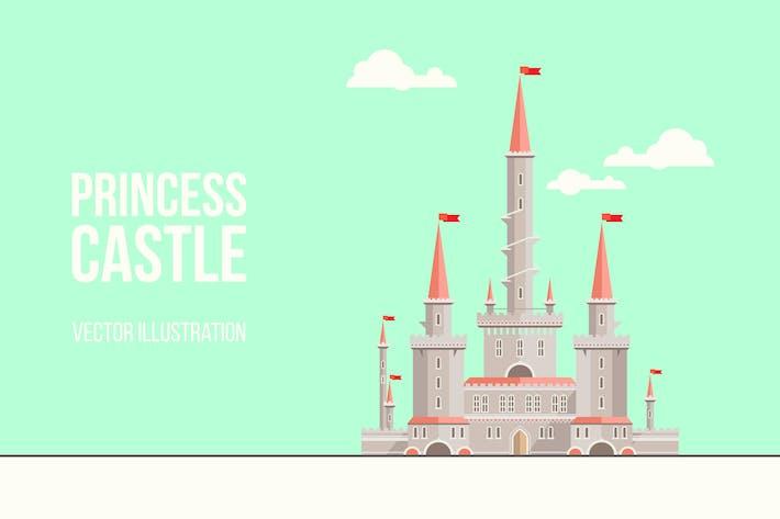 Thumbnail for Princess Castle Flat Illustration