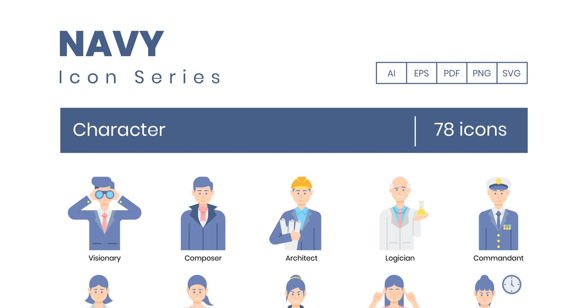 Download 78 Character Icons - Navy Series by Krafted