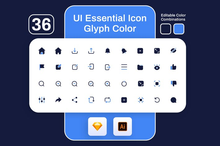 Thumbnail for UI Essential Glyph Color Icon Set
