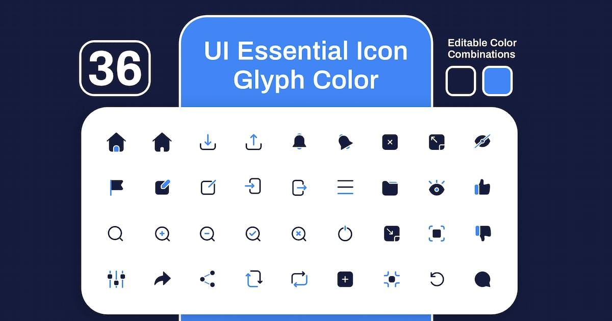 Download UI Essential Glyph Color Icon Set by sudutlancip