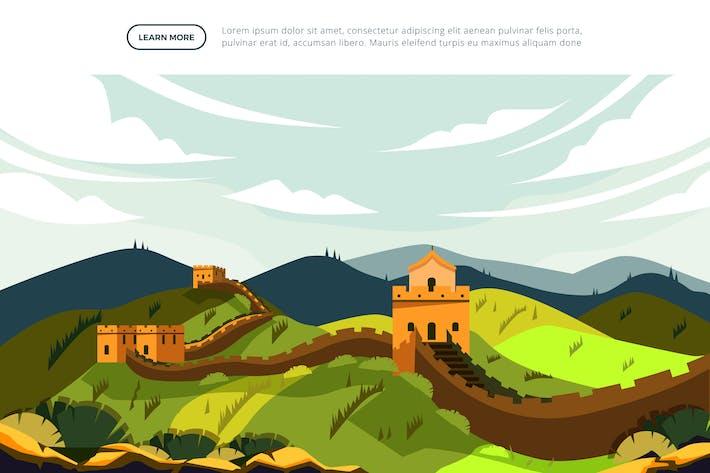 Thumbnail for Great Wall of China - Famous Landmark Illustration