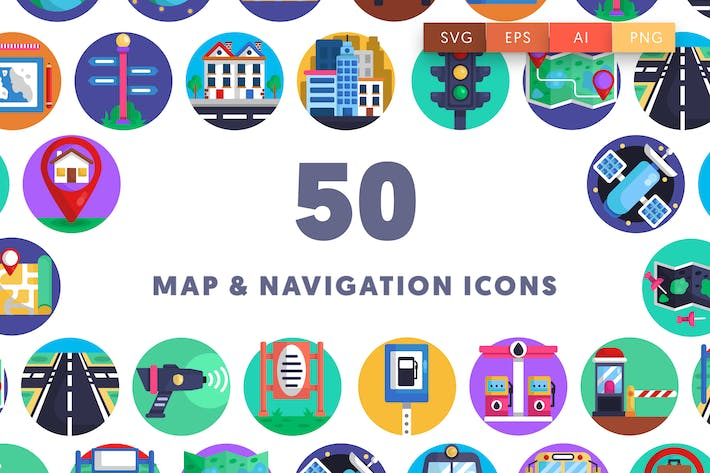 Thumbnail for 50 Map Navigation Icons