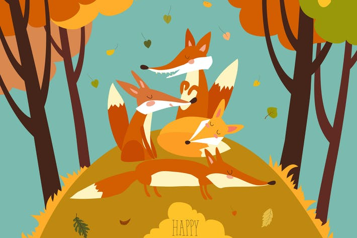 Thumbnail for Cute foxes in autumn forest. Vector illustration