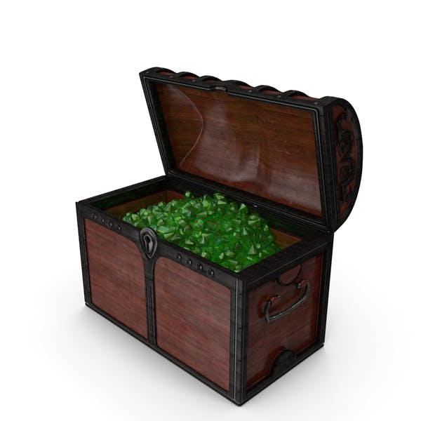 Wooden Chest With Emerald Gems