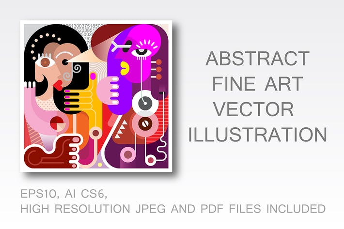 Thumbnail for Two Women abstract fine art portrait (vector)