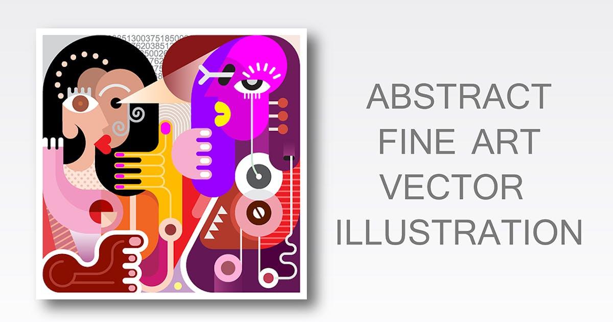 Two Women abstract fine art portrait (vector) by danjazzia