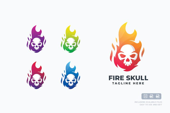 Thumbnail for Colored Fire Skull Logo Template