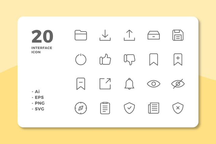 Thumbnail for 20 Interface Icons Vol.3 (Line)