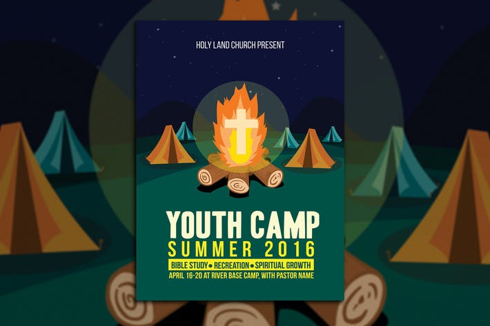 youth camp church flyer template by muhamadiqbalhidayat on envato