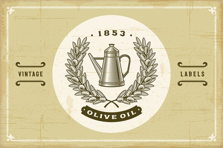Thumbnail for Vintage Olive Oil Labels Set