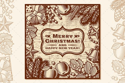 Weihnachts-Retro-Karte Braun
