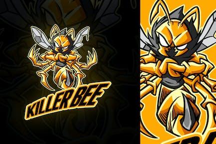 Cartoon Killer Bee Mascot Logo