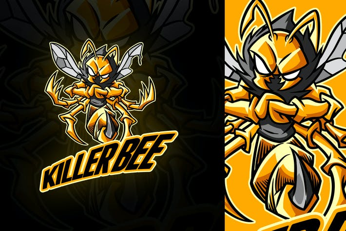 Thumbnail for Cartoon Killer Bee Mascot Logo