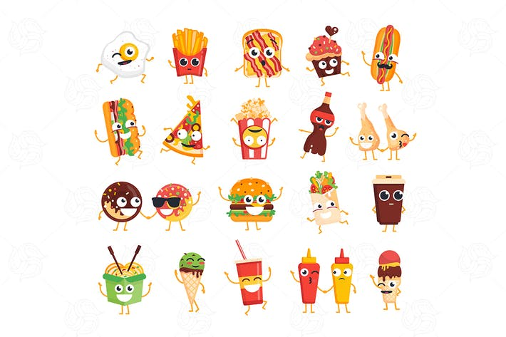 Thumbnail for Fast Food - vector set of characters