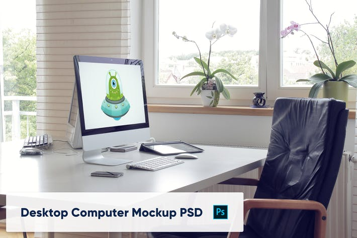 Thumbnail for Desktop Computer on Table in Home Office - Mockup