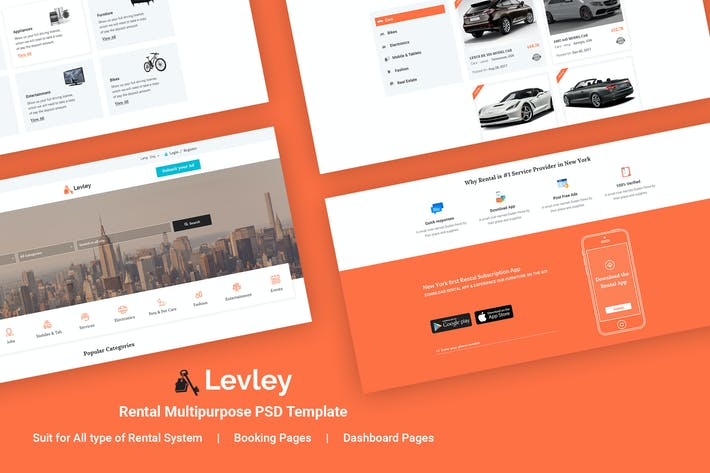 Thumbnail for Levley - Rental Multipurpose PSD Template