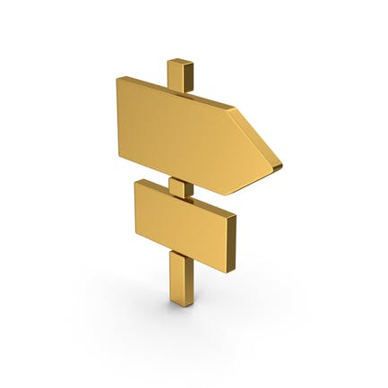 Symbol Road Sign Post Gold
