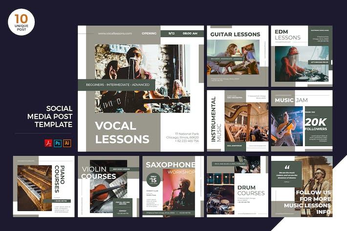 Thumbnail for Music Lesson Social Media Kit PSD & AI