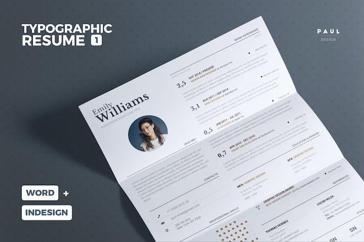 Thumbnail for Typographic Resume/Cv Volume 1