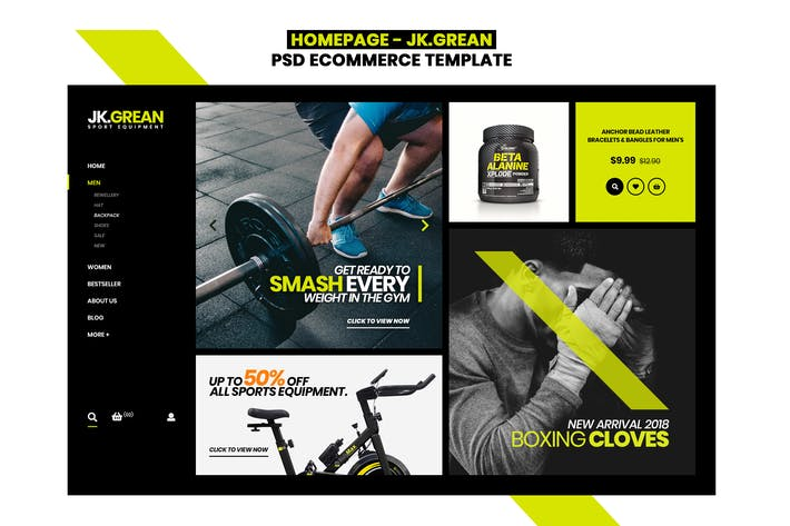 Cover Image For JK.Grean Homepage - Ecommerce PSD Template