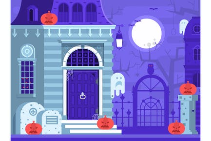 Flache Halloween-Krypt-Szene