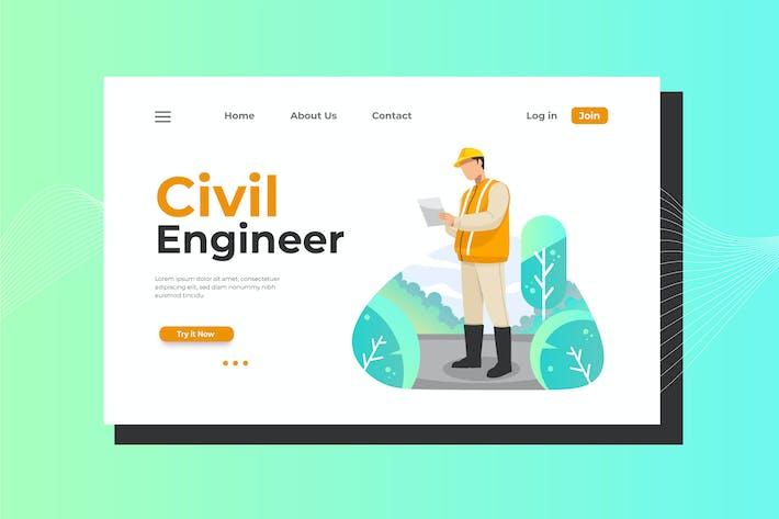 Thumbnail for Civil Engineer Landing Page Illustration